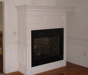 Custom fireplace mantle, gas fireplace
