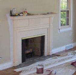 custom fireplace enclosure & mantel