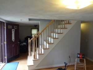 Stairs rebuilt with red oak