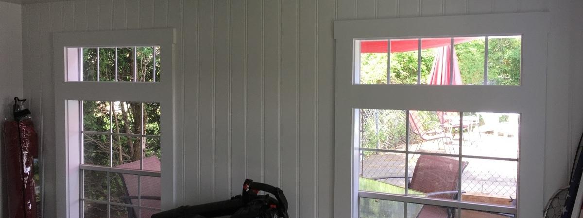 Carpentry interior of shed, window & door trim, bead board, baseboard & new floors